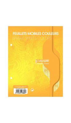 Clairefontaine - 7884 - Feuille mobile grand carreaux jaune 17x22 cm - Sachet de 50
