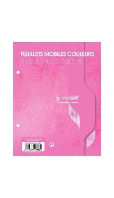Clairefontaine - 7883 - Feuille mobile grand carreaux rose 17x22 cm - Sachet de 50