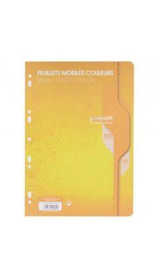 Clairefontaine - 7964 - Feuille mobile grand carreaux jaune A4 - Sachet de 50