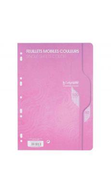 Clairefontaine - 7963 - Feuille mobile grand carreaux rose A4 - Sachet de 50