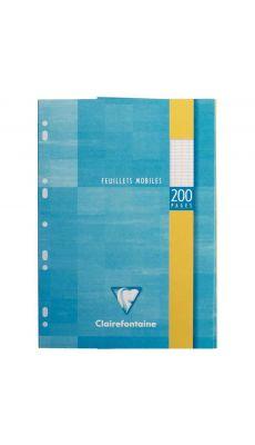 Clairefontaine - 1751 - Feuille mobile grand carreaux blanc A4 - Etui de 100