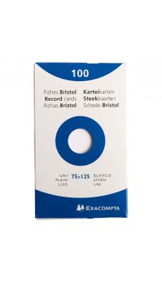 Exacompta - 13301E - Fiche bristol non perforée uni blanc 75x125mm - Paquet de 100