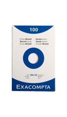 Exacompta - 13302E - Fiche bristol non perforée uni blanc 100x150mm - Paquet de 100