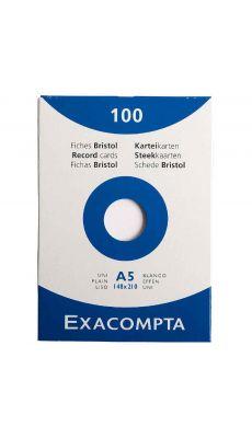 Exacompta - 13308E - Fiche bristol non perforée uni blanc 148x210mm - Paquet de 100