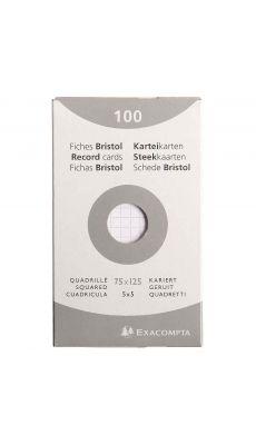 Exacompta - 13201E - Fiche bristol non perforée petit carreaux blanc 75x125mm - Paquet de 100