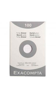 Exacompta - 13202E - Fiche bristol non perforée petit carreaux blanc 100x150mm- Paquet de 100