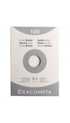 Exacompta - 13206E - Fiche bristol non perforée petit carreaux blanc 210x297mm - Paquet de 100