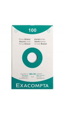Exacompta - 13602E - Fiche bristol perforée petit carreaux blanc100x150mm - Paquet de 100