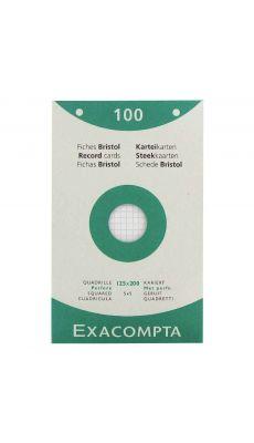 Exacompta - 13603E - Fiche bristol perforée petit carreaux blanc125x200mm - Paquet de 100