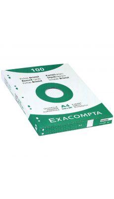 Exacompta - 13606E - Fiche bristol perforée petit carreaux blanc 210x297mm - Paquet de 100