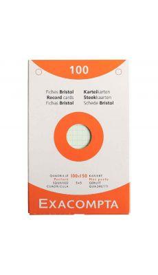 Exacompta - 13652E - Fiche bristol perforée petit carreaux couleurs assorties 100x150mm  - Paquet de 100