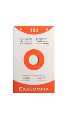 Exacompta - 13653E - Fiche bristol perforée petit carreaux couleurs assorties 125x200mm - Paquet de 100