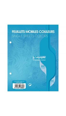 Clairefontaine - 7882 - Feuille mobile grand carreaux bleu - 17x22 cm - Sachet de 50