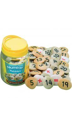 Baril de 50 galets les nombres et signes de 0 à 20