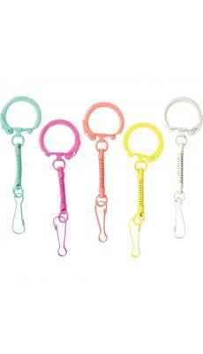 Porte-clés coloris pop avec mousqueton - Sachet de 10