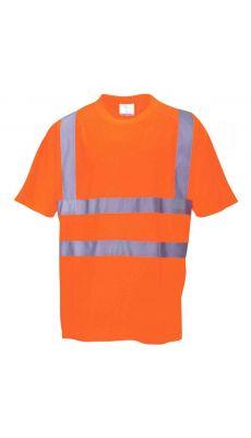 T-shirt haute visibilité bandes rétro réfléchissantes orange taille M