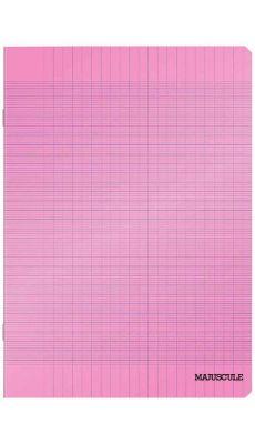 Cahier piqure - 17x22 cm - seyes - 48 pages - couverture polypropylène - coloris rose