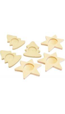 Bougeoirs sapins + étoiles assortis - Lot de 6