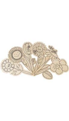 Fleurs en bois à piquer - Lot de 6