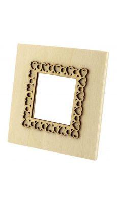 Cadres photo forme carrée en bois - Lot de 5