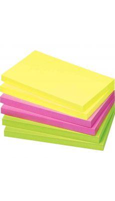 Bloc note repositionnable de 80 feuilles format 75 x 125 mm couleurs vives assorties - Lot de 12