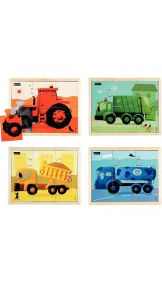 Puzzles les engins en couleurs NATHAN - Lot de 4