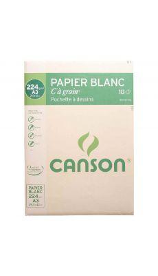 Canson - 200027115 - Papier dessin C à grain 224g A3- Pochette de 12