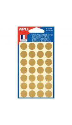 APLI AGIPA - 100602 - Pastille adhésive diamètre 15 mm or - Etui de 112
