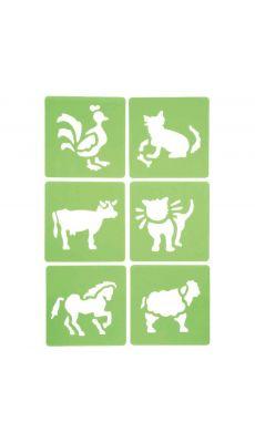 Pochoir plastique animaux - Paquet de 6