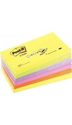 POST-IT - Z-notes repositionnables 76 x 127 mm, couleurs néon assorties - Lot de 6 Blocs