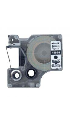 Dymo - 45010 - Ruban cassette - 12mm x 7m - Noir et Transparent