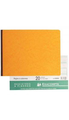 Exacompta - 6200E - Registre piqure - 20 colonnes sur 2 pages à l'italienne 250x320mm - 80 pages