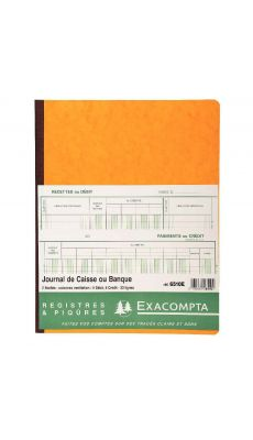 Exacompta - 6510E - Registre piqure - Caisse-banque - 320x250mm - 80 pages