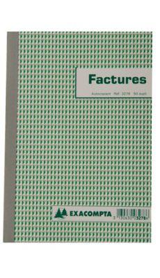Exacompta - 3278E - Manifold NCR autocopiant - Factures - 148X210mm - 50/2
