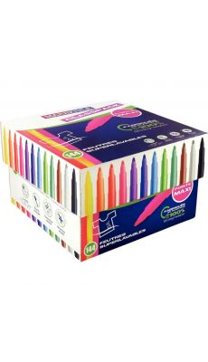 Classpack de 144 maxi feutres pointe large, couleurs assorties