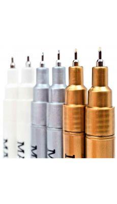 Marqueurs permanents pointe fine coloris or, argent et blanc - Pochette de 6