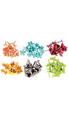 Attaches parisiennes fantaisies couleurs 10 mm. 6 couleurs assorties - blister de120