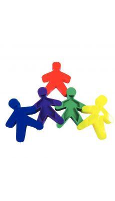 Personnages à assembler 5 couleurs assorties : bleu, rouge, violet, vert et jaune - Lot de 100