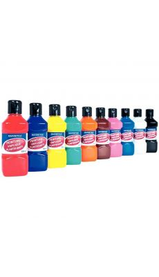 Peinture vinylique plastifiante - Lot de 10 flacons de 250 ml