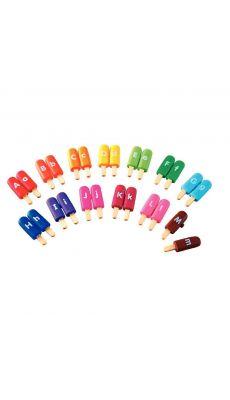 Boîte de 13x2 Glaces lettres couleurs assorties