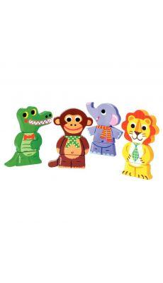 Puzzles magnets drôles d'animaux de la jungle - Lot de 4