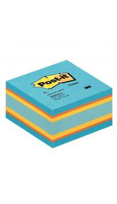 Cube 450 feuilles notes repositionnables 76x76 mm.  Coloris relax : bleu, orange, jaune