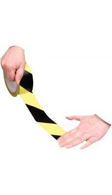 Ruban adhesif de signalisation noir et jaune 50mmx33m PVC