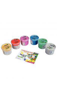 PEBEO - 634190 - Boite de 6 pots 100ml de peinture aux doigts pour textile