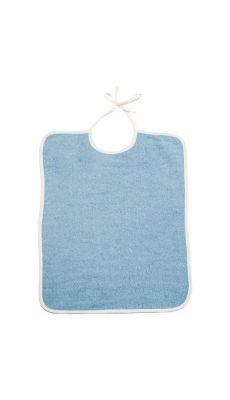 Lot de 10 bavoirs 37 x 50 à lacette 340 grammes bleu.  Qualité éponge. Lavable à 60°