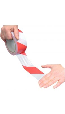 Ruban adhesif de signalisation rouge et blanc 50mmx33m PVC