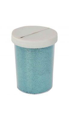 Salière de 100 g de poudre scintillante. Coloris bleu ciel