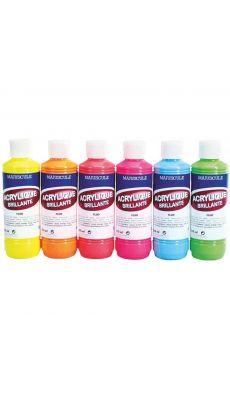 MAJUSCULE - 22428 - Boîte de 6 flacons de 250 ml acrylique fluo. Couleurs assorties : jaune, orange, rouge, rose, bleu et vert