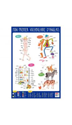 Poster Pédagogique en PVC 76x52cm, le vocabulaire Anglais