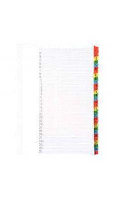 Intercalaire numérique en carte blanche Mylar 1 à 31 touches format A4